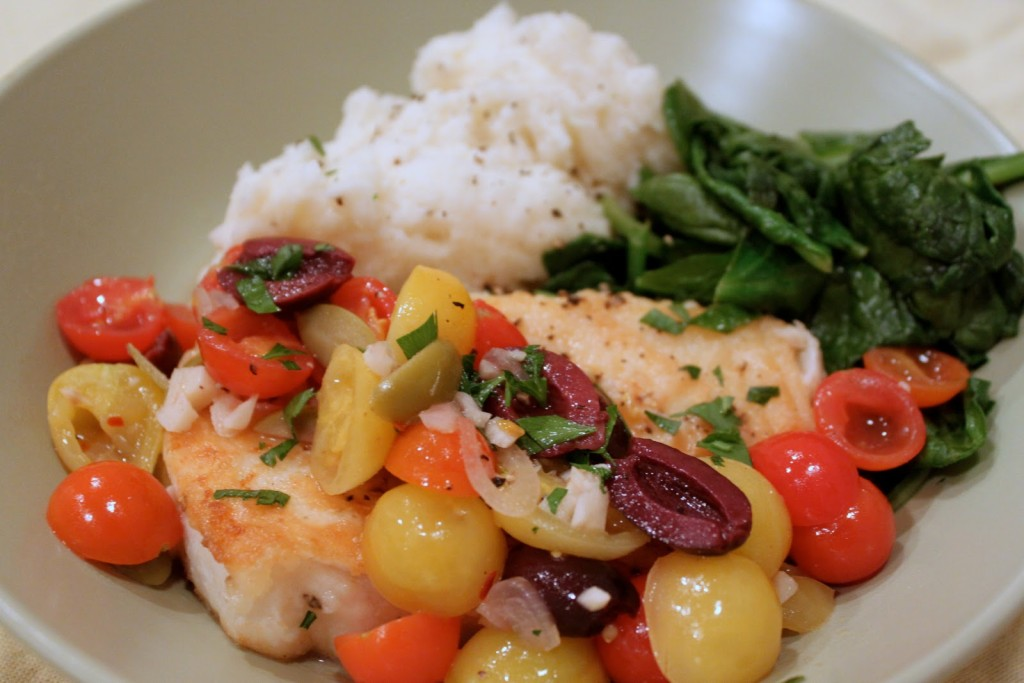 A simple dish with great flavor: Halibut with Cherry Tomatoes and Olives