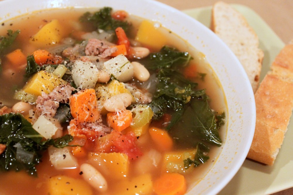 Kick that cold! Minestrone with Squash, Kale & Fennel Sausage