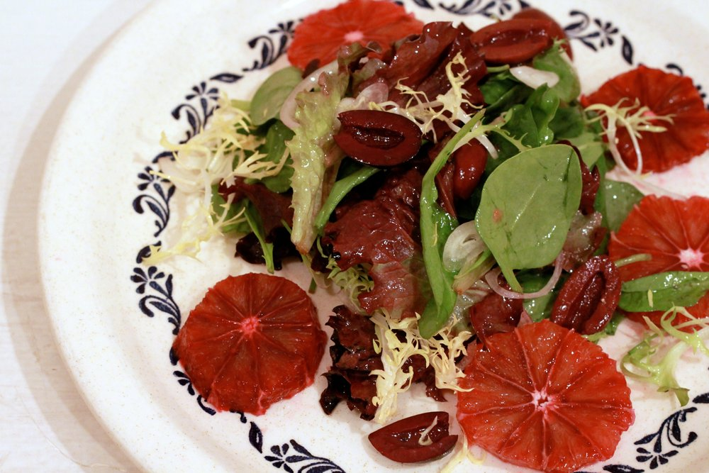 A splendid winter salad: Mixed Greens with Blood Oranges & Olives