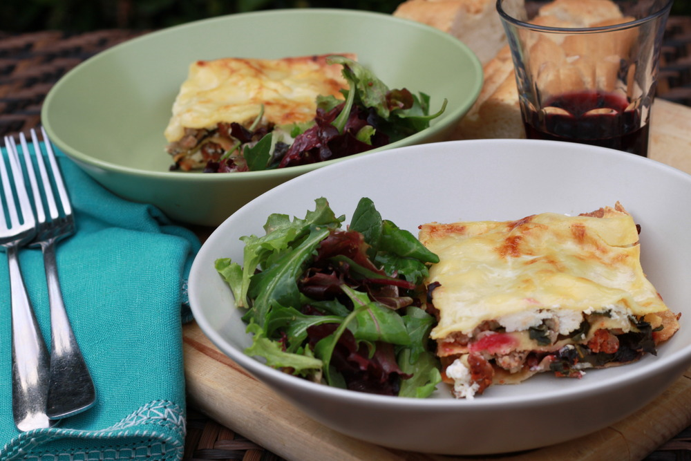 Luscious Lasagna with Rainbow Chard, Sausage, and Bechamel