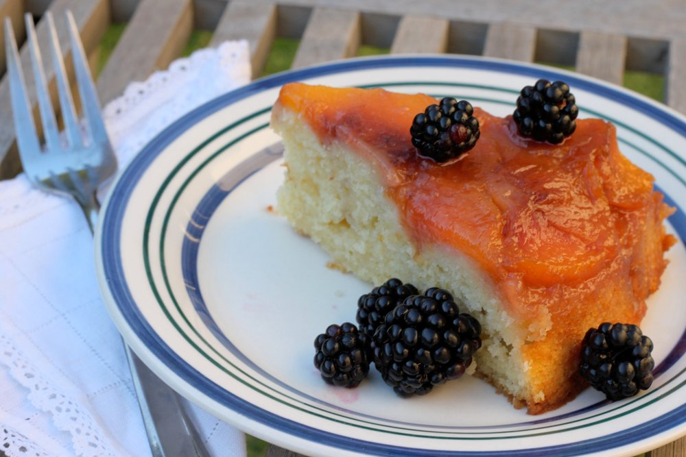 Variation on a theme: Peach Upside-Down Cake with Fresh Blackberries