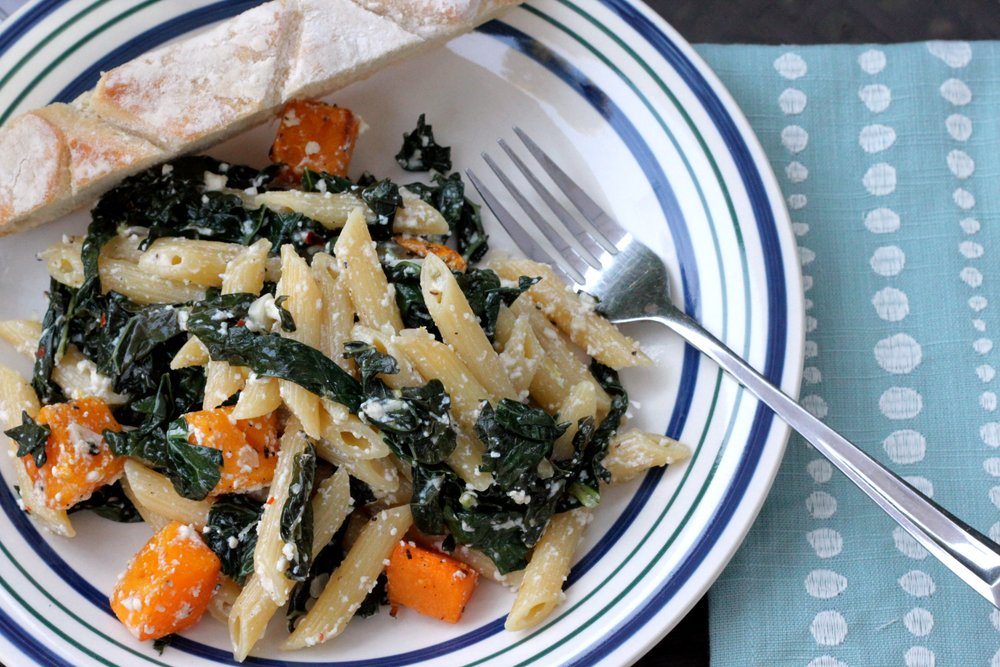 The perfect vegetarian pasta: Penne with Fresh Ricotta, Kale and Butternut Squash