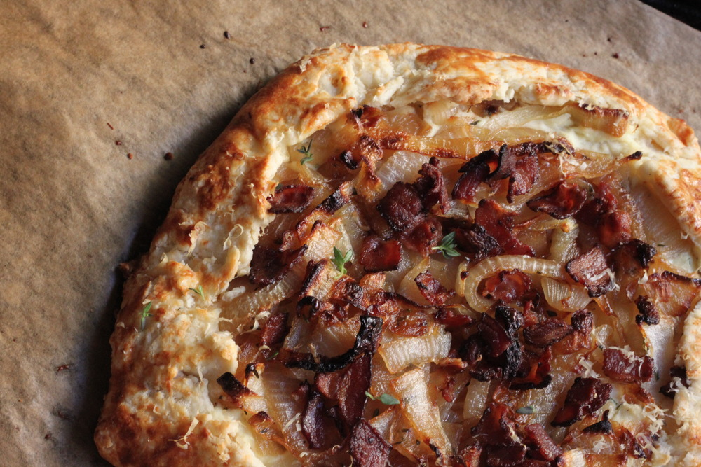Caramelized Onion Galette with Bacon & Thyme: French peasant food fit for a king