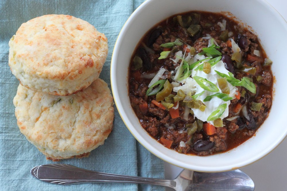 The Best Beef Chili: Gourmet's Chili Con Carne with Sour Cream Cheddar Biscuits