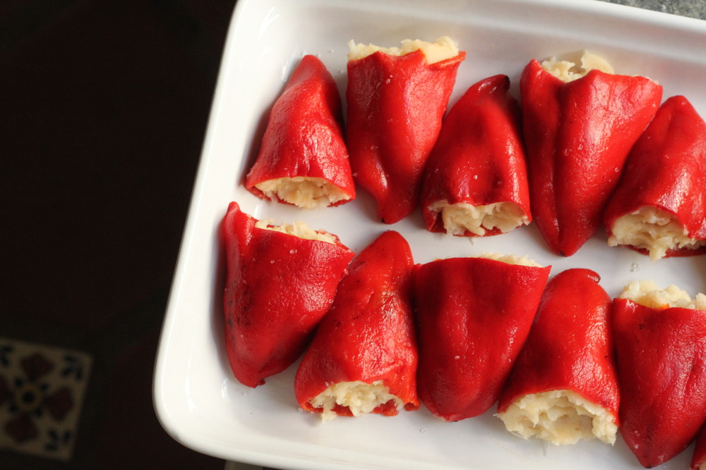 Old School. Piquillo Peppers stuffed with Bacalao and Mashed Potatoes