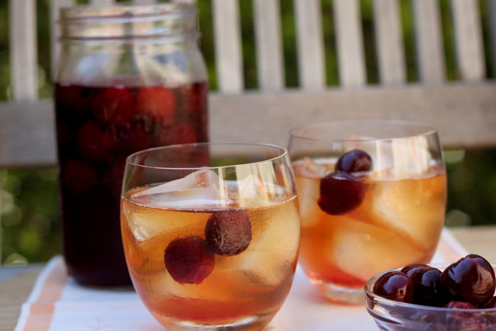 A classic cocktail with a twist: The Homeward Angel: A Manhattan with Pickled Sour Cherries