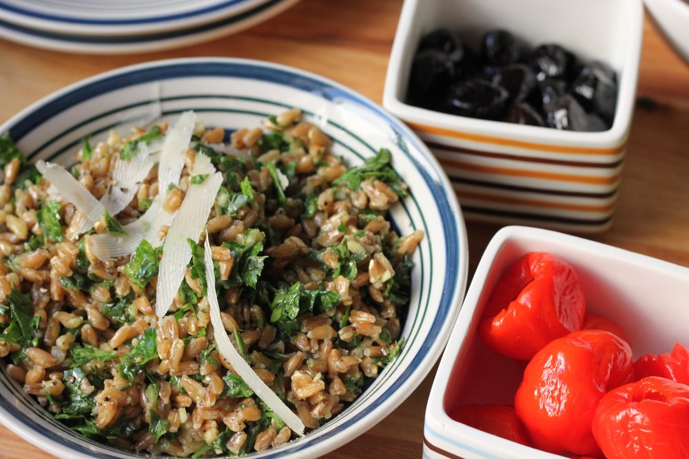 Damn good and good for you: Farro with Coarse Pesto