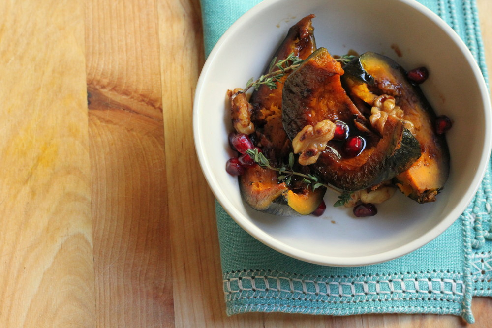 A simple & stunning side dish: Roasted Kabocha Squash with Walnuts & Pomegranate Molasses