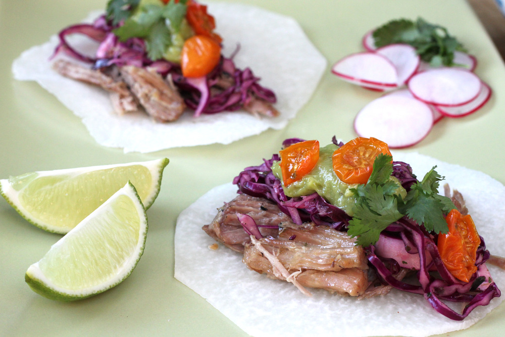 So Fresh: Tacos de Carnitas on a Jicama shell with Red Cabbage Slaw