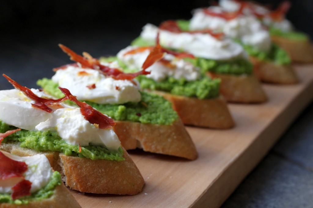 A lovely Easter appetizer: Fava Bean Crostini with Burrata and Crispy Prosciutto