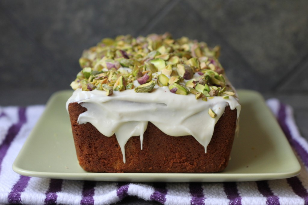 A delicious show-stopper: Citrus Pound Cake with Pistachios and Lemon Icing
