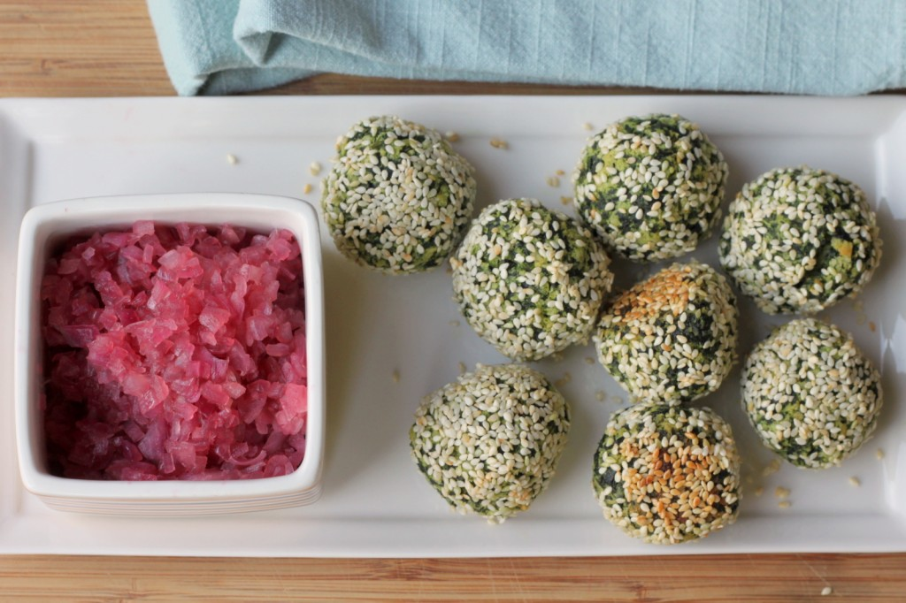 A Unique Appetizer from an Italian Grandmother: Swiss Chard Balls with Red Onion Jam