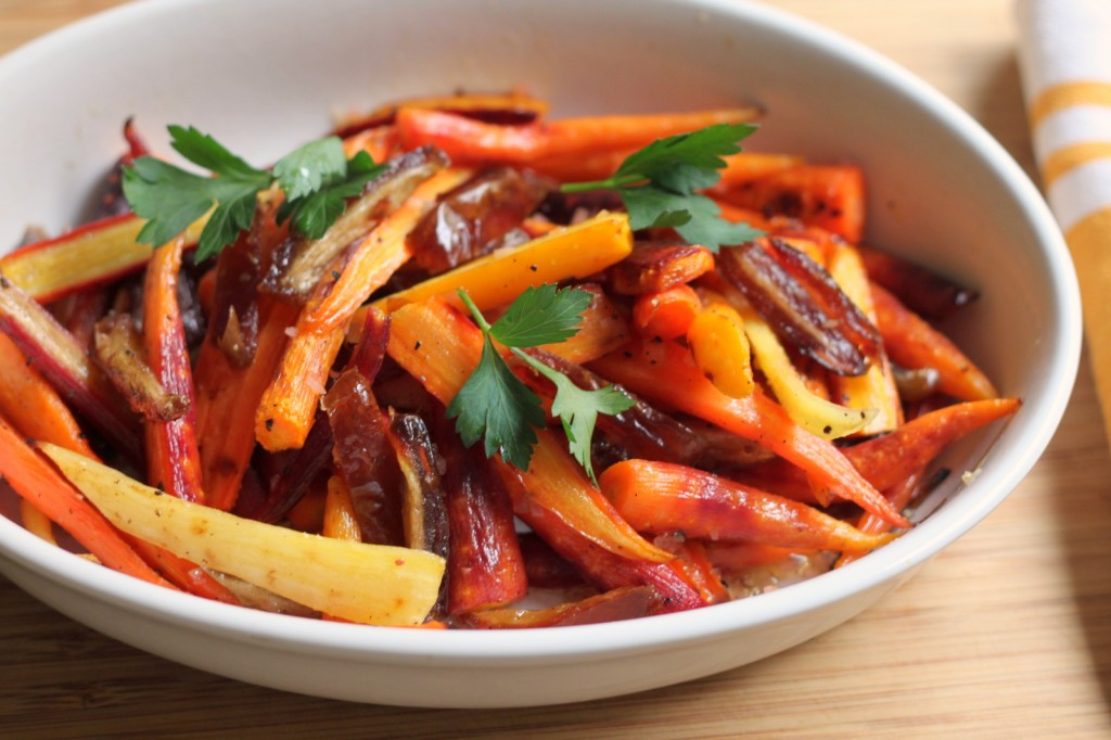 A Simple Roasted Carrot Salad for the Holidays: Rainbow Carrots with Dates & Sherry Vinaigrette