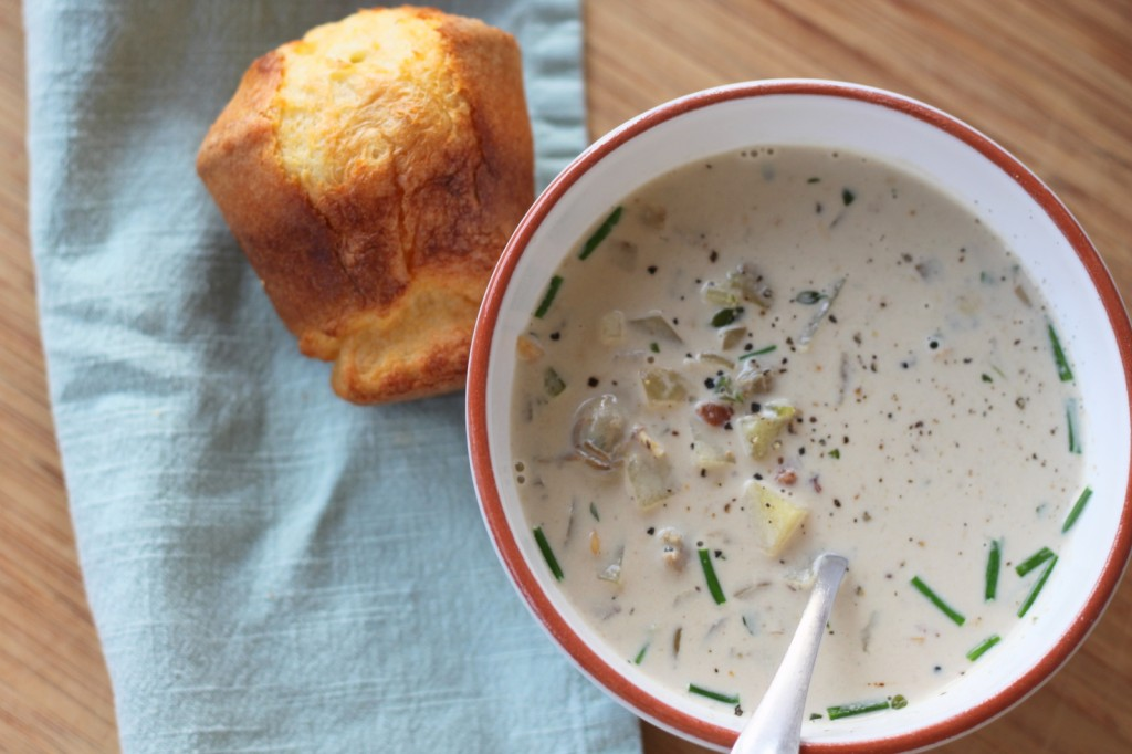 Luscious New England Clam Chowder with Thyme & Bacon and Perfect Popovers on the Side