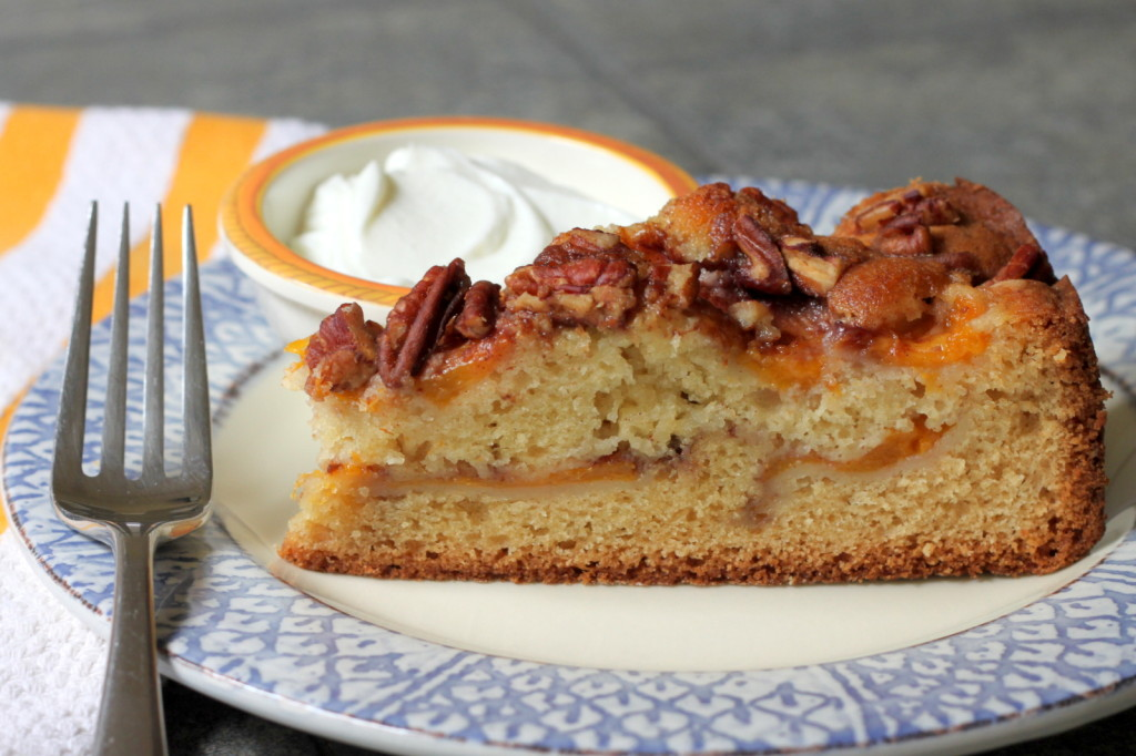 A Perfect Summer Cake for Dessert or Brunch: Fresh Peach Cake with Pecans