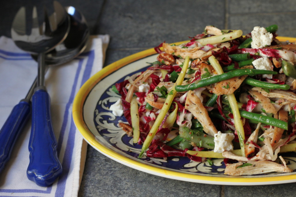A Salad for Fall: Shredded Chicken with Haricots Verts, Radicchio & Goat Cheese with Sherry Vinaigrette