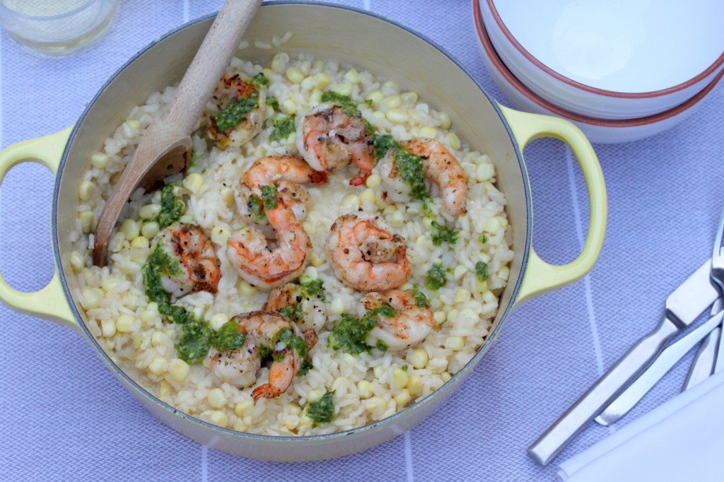 Welcome Summer with a Sweet Corn Risotto with Grilled Shrimp and Basil Pesto