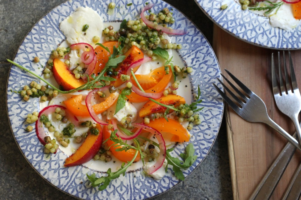 Cooking with Color: A Golden Caprese with Nectarines, Pickled Onions and Green Fregola