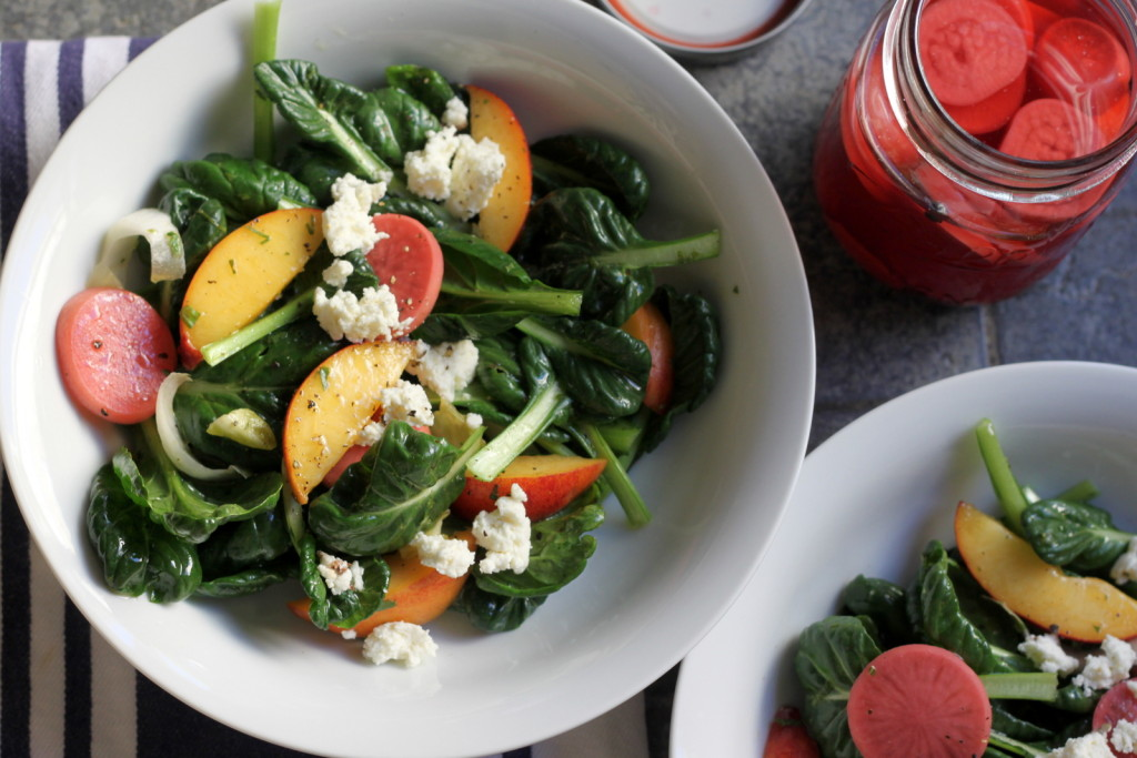 A Summer Salad with Character: Tatsoi with Peaches, Pickled Radishes & Lavender Goat Cheese