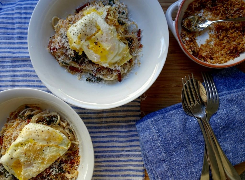 Healthy & Bright Comfort Food: Quinoa Pasta with Egg, Chard, & Lemon Bacon Breadcrumbs