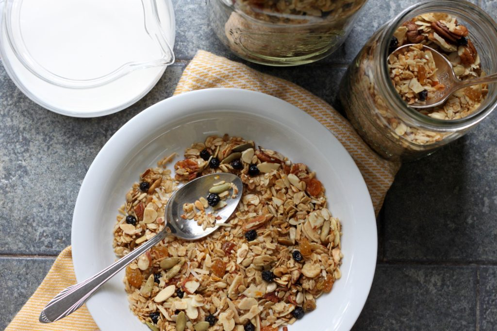 Best Cereal Ever: Toasted Coconut Muesli with Maple, Tahini, Orange & Blueberries