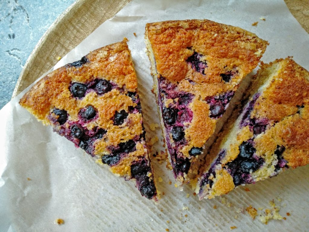 The Perfect Summer Cake? Look No Further. Blueberry Cornmeal Cake with Ricotta and Orange